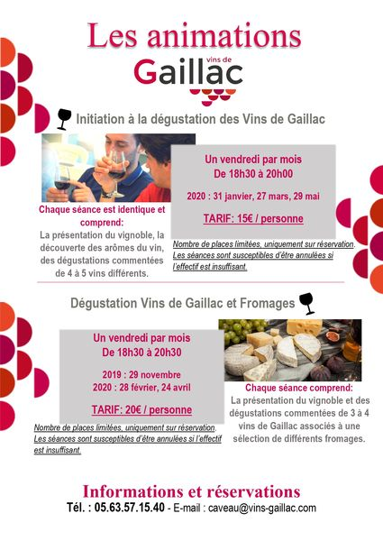 Ateliers dégustation 2019/2020